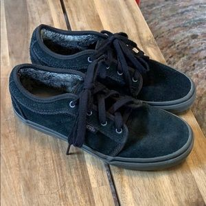 Black suede Vans low tops size 5 youth